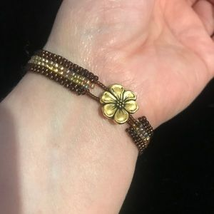 Vintage BHOH beaded bracelet with flower charm